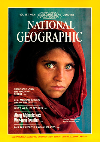 "National Geographic Magazine and Steve McCurry's portrait ""Afghan Girl"""