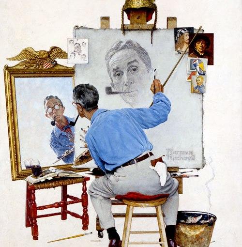"""Norman Rockwell – """"Triple Self-Portrait"""""""